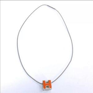 Hermès silver & orange necklace